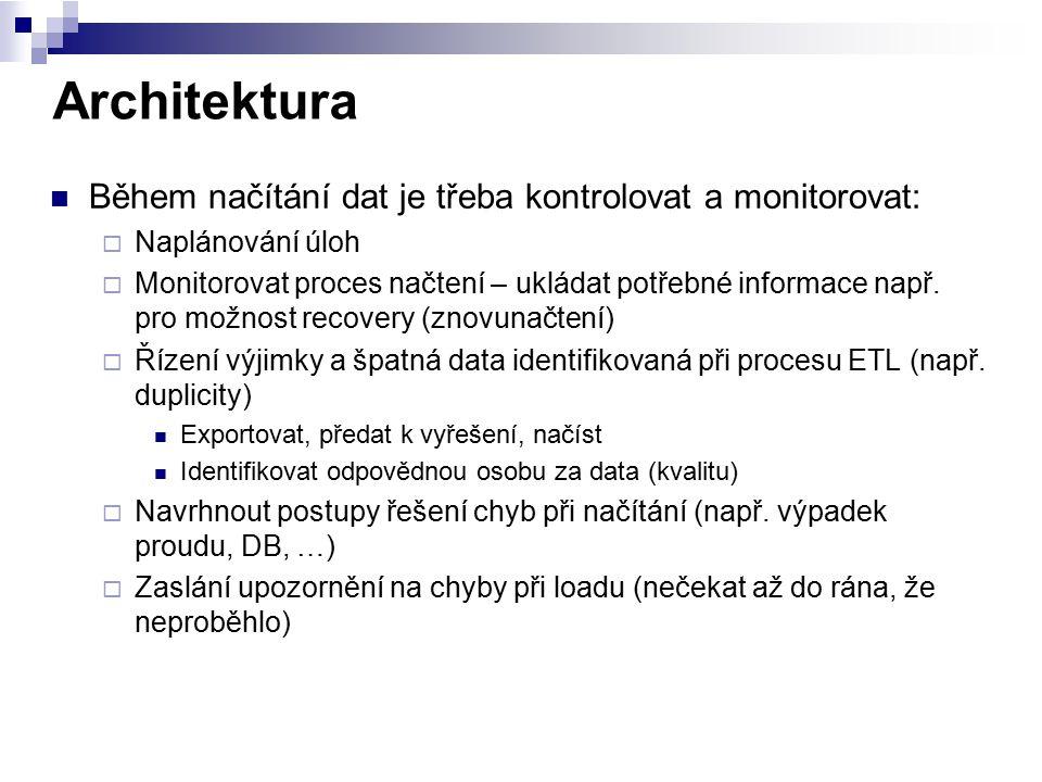 Architektura Během načítání dat je třeba kontrolovat a monitorovat:  Naplánování úloh  Monitorovat proces načtení – ukládat potřebné informace např.
