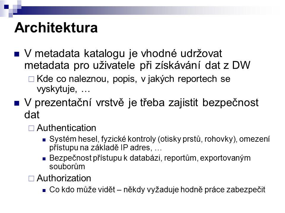 Architektura V metadata katalogu je vhodné udržovat metadata pro uživatele při získávání dat z DW  Kde co naleznou, popis, v jakých reportech se vysk