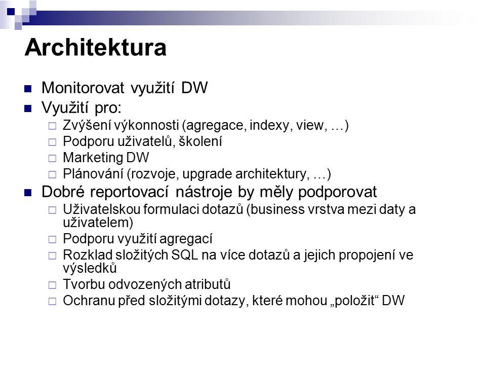 Architektura Monitorovat využití DW Využití pro:  Zvýšení výkonnosti (agregace, indexy, view, …)  Podporu uživatelů, školení  Marketing DW  Plánov
