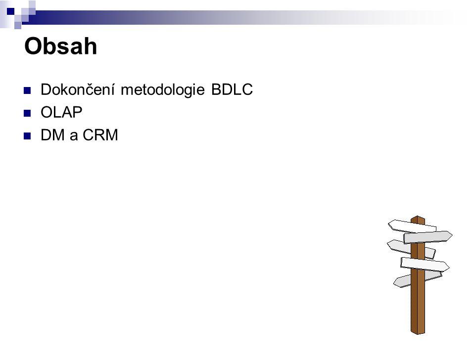 Obsah Dokončení metodologie BDLC OLAP DM a CRM
