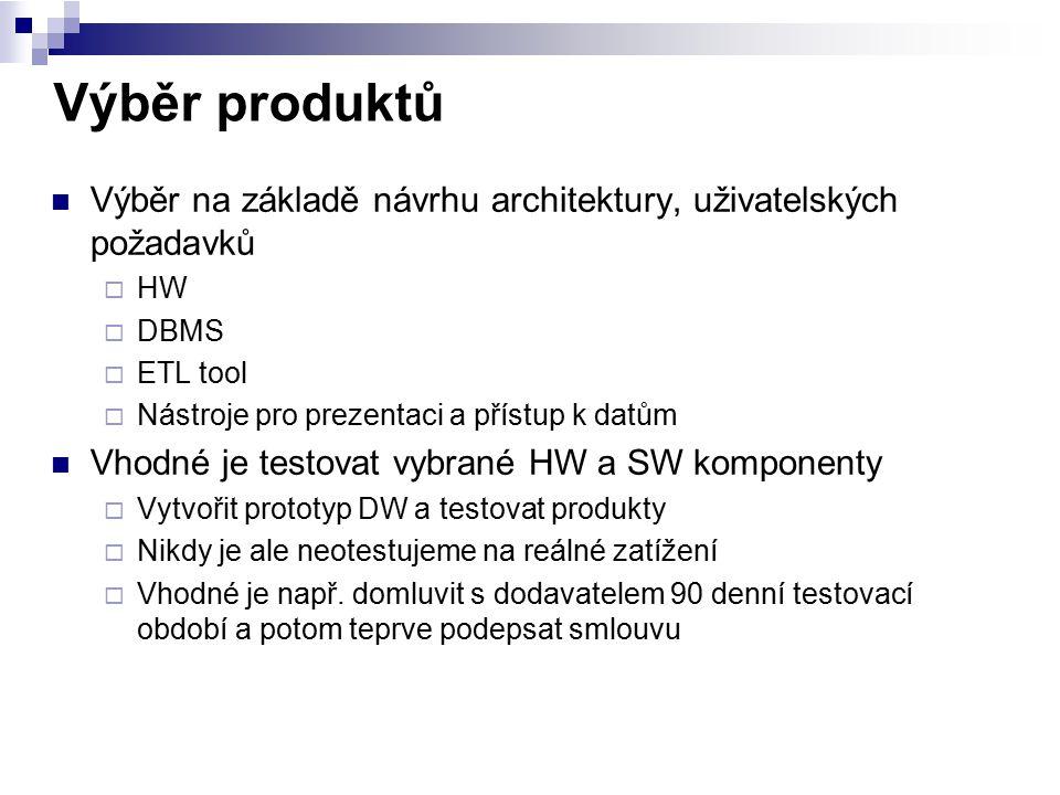 Výběr produktů Výběr na základě návrhu architektury, uživatelských požadavků  HW  DBMS  ETL tool  Nástroje pro prezentaci a přístup k datům Vhodné