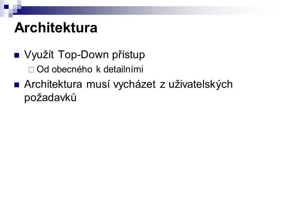 Architektura Využít Top-Down přístup  Od obecného k detailními Architektura musí vycházet z uživatelských požadavků