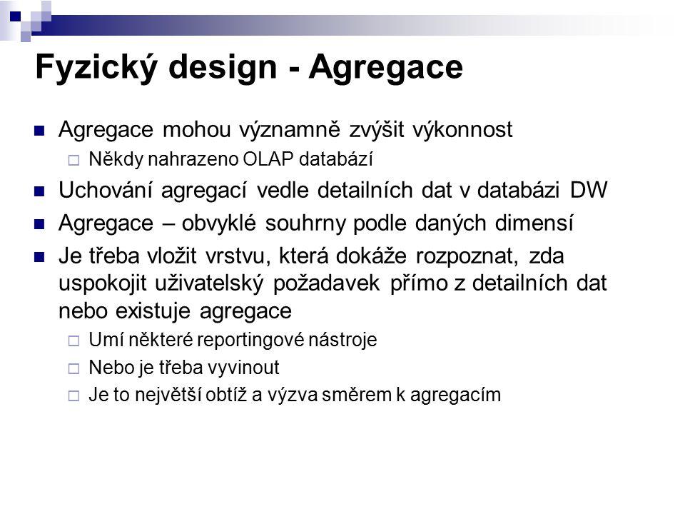 Fyzický design - Agregace Agregace mohou významně zvýšit výkonnost  Někdy nahrazeno OLAP databází Uchování agregací vedle detailních dat v databázi D