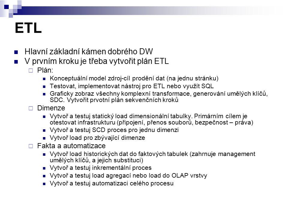 ETL Hlavní základní kámen dobrého DW V prvním kroku je třeba vytvořit plán ETL  Plán: Konceptuální model zdroj-cíl prodění dat (na jednu stránku) Tes