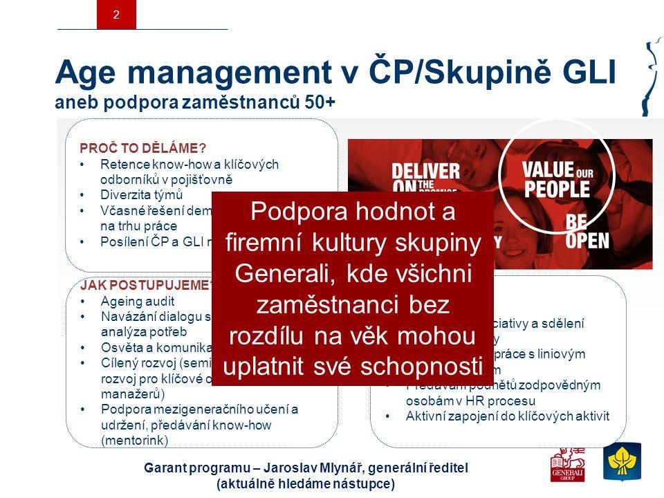 2 Age management v ČP/Skupině GLI aneb podpora zaměstnanců 50+ ROLE HR Představení iniciativy a sdělení hlavní myšlenky Osvěta a spolupráce s liniovým