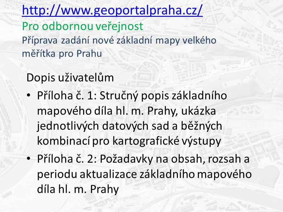 http://www.geoportalpraha.cz/ http://www.geoportalpraha.cz/ Pro odbornou veřejnost Příprava zadání nové základní mapy velkého měřítka pro Prahu Dopis uživatelům Příloha č.