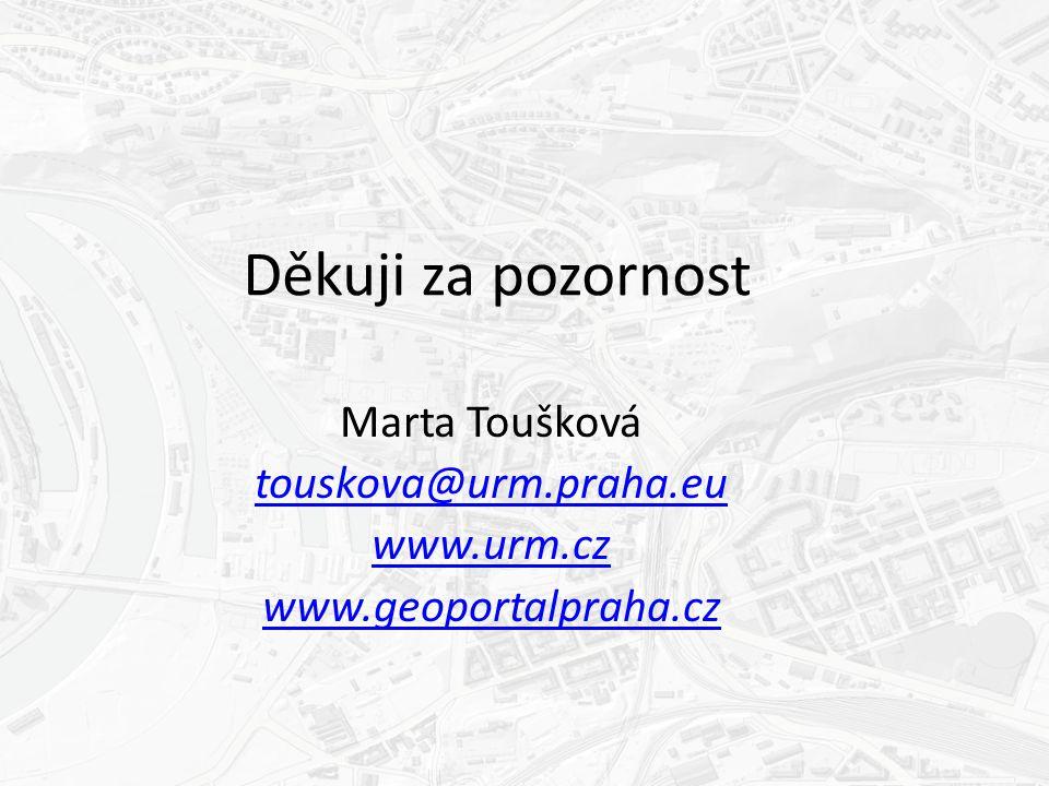 Děkuji za pozornost Marta Toušková touskova@urm.praha.eu www.urm.cz www.geoportalpraha.cz