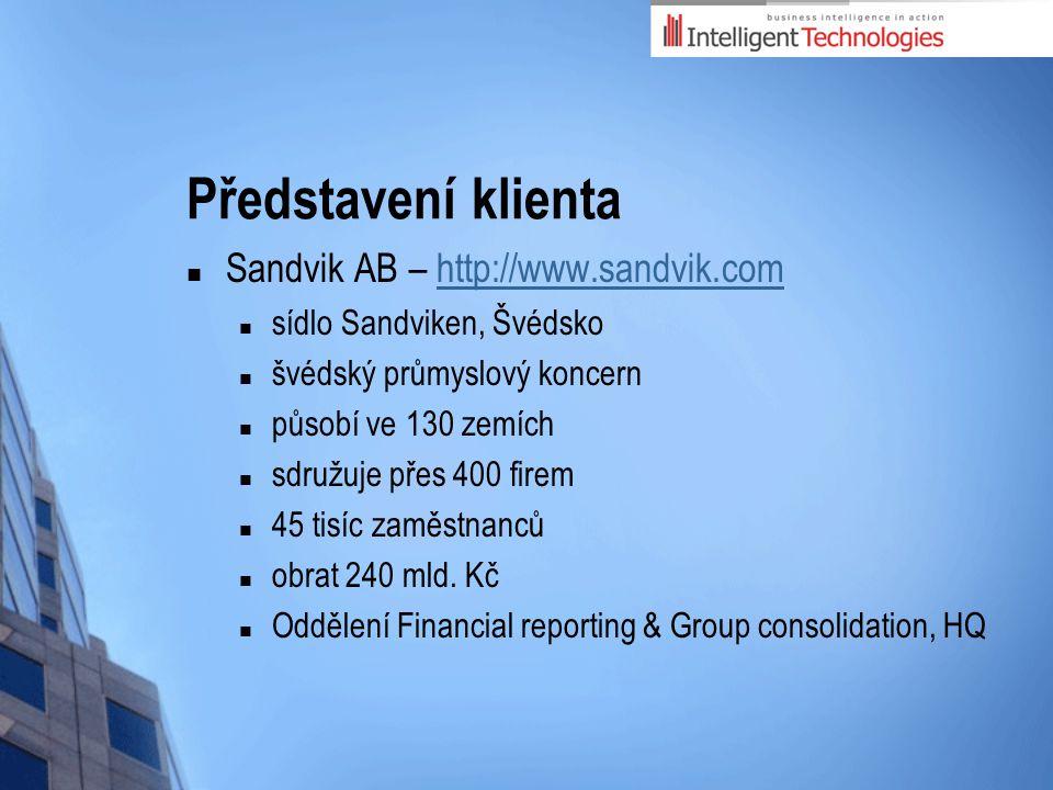 Představení klienta Sandvik AB – http://www.sandvik.comhttp://www.sandvik.com sídlo Sandviken, Švédsko švédský průmyslový koncern působí ve 130 zemích sdružuje přes 400 firem 45 tisíc zaměstnanců obrat 240 mld.