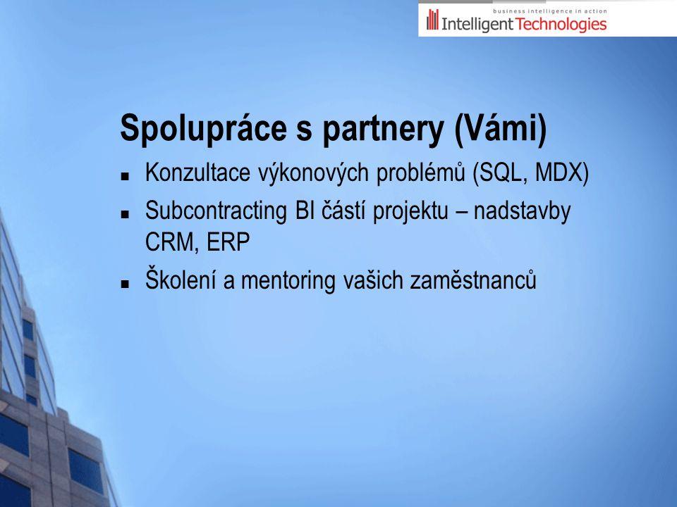 Spolupráce s partnery (Vámi) Konzultace výkonových problémů (SQL, MDX) Subcontracting BI částí projektu – nadstavby CRM, ERP Školení a mentoring vašich zaměstnanců