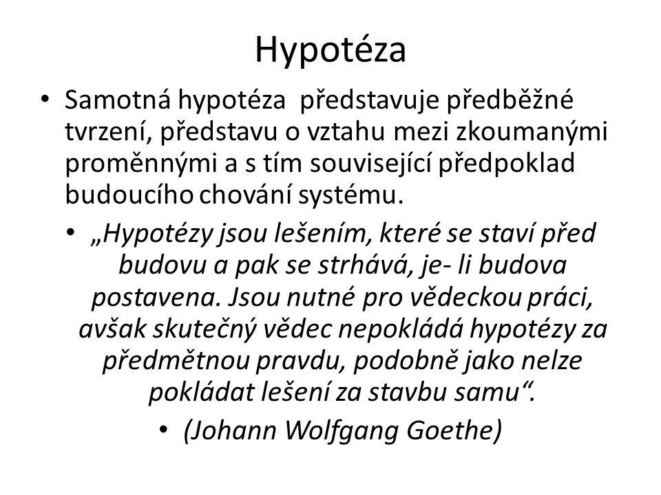 Hypotéza Samotná hypotéza představuje předběžné tvrzení, představu o vztahu mezi zkoumanými proměnnými a s tím související předpoklad budoucího chován