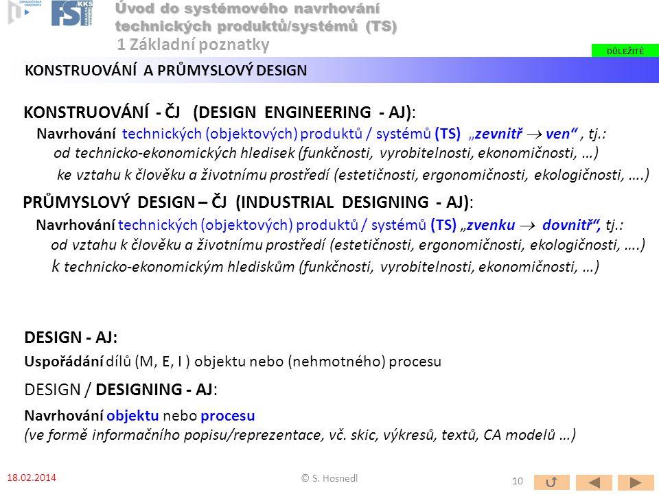 """PRŮMYSLOVÝ DESIGN – ČJ (INDUSTRIAL DESIGNING - AJ): Navrhování technických (objektových) produktů / systémů (TS) """"zvenku  dovnitř"""", tj.: od vztahu k"""