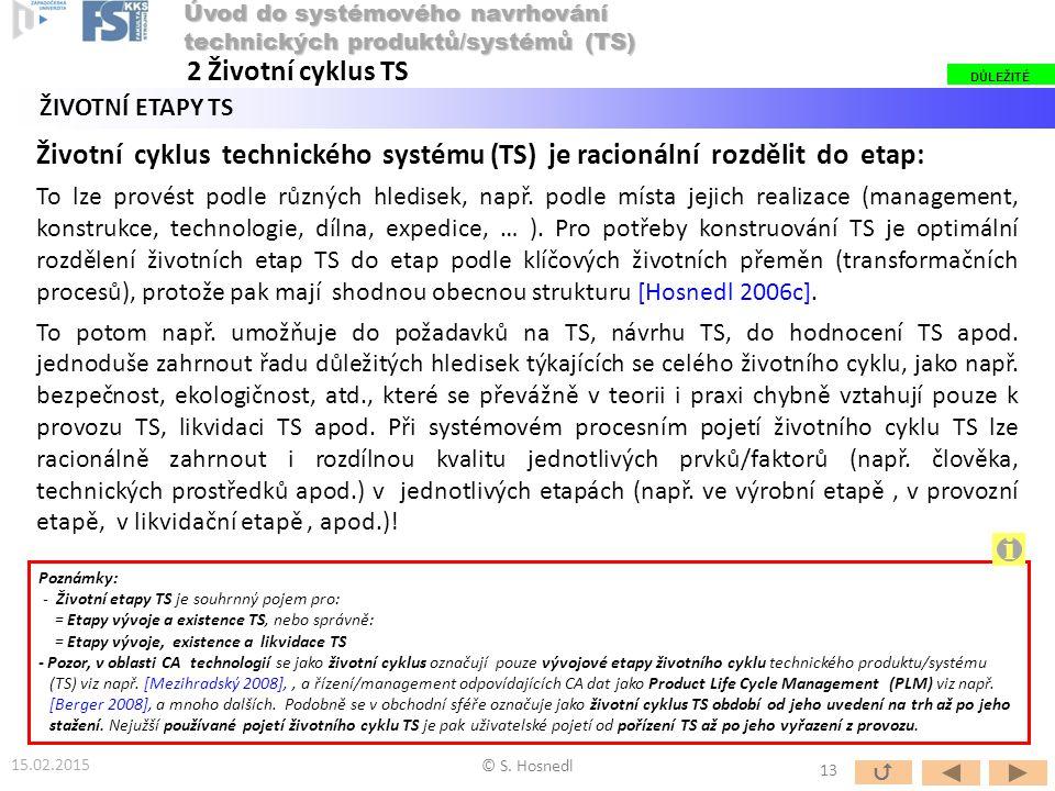 ŽIVOTNÍ ETAPY TS Životní cyklus technického systému (TS) je racionální rozdělit do etap: To lze provést podle různých hledisek, např. podle místa jeji