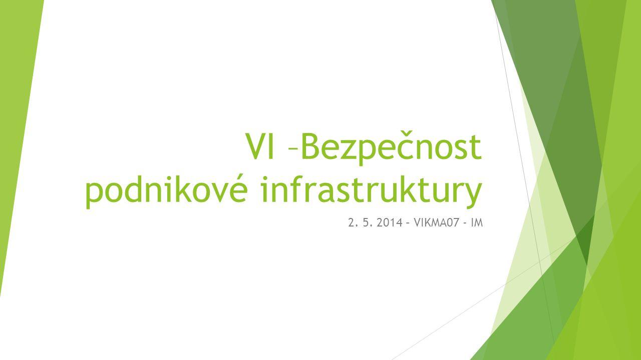 VI –Bezpečnost podnikové infrastruktury 2. 5. 2014 – VIKMA07 - IM