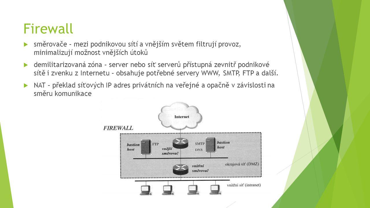 Firewall  směrovače – mezi podnikovou sítí a vnějším světem filtrují provoz, minimalizují možnost vnějších útoků  demilitarizovaná zóna – server nebo síť serverů přístupná zevnitř podnikové sítě i zvenku z Internetu – obsahuje potřebné servery WWW, SMTP, FTP a další.