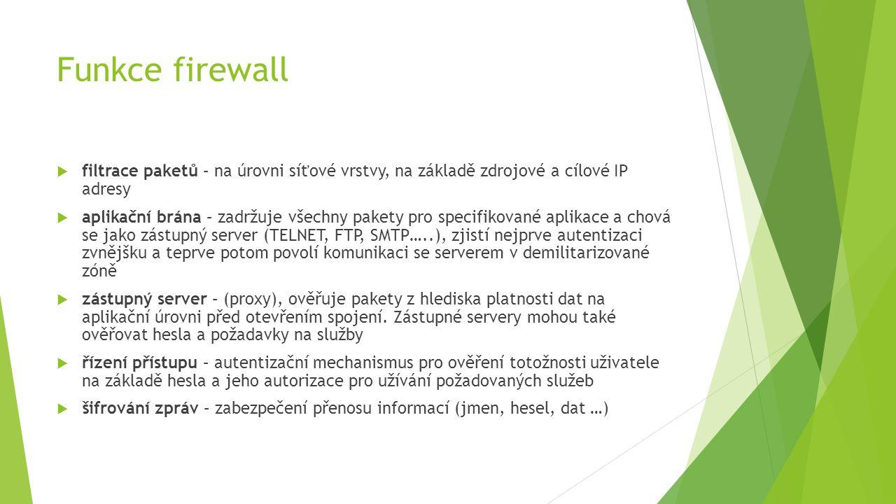Funkce firewall  filtrace paketů – na úrovni síťové vrstvy, na základě zdrojové a cílové IP adresy  aplikační brána – zadržuje všechny pakety pro specifikované aplikace a chová se jako zástupný server (TELNET, FTP, SMTP…..), zjistí nejprve autentizaci zvnějšku a teprve potom povolí komunikaci se serverem v demilitarizované zóně  zástupný server – (proxy), ověřuje pakety z hlediska platnosti dat na aplikační úrovni před otevřením spojení.