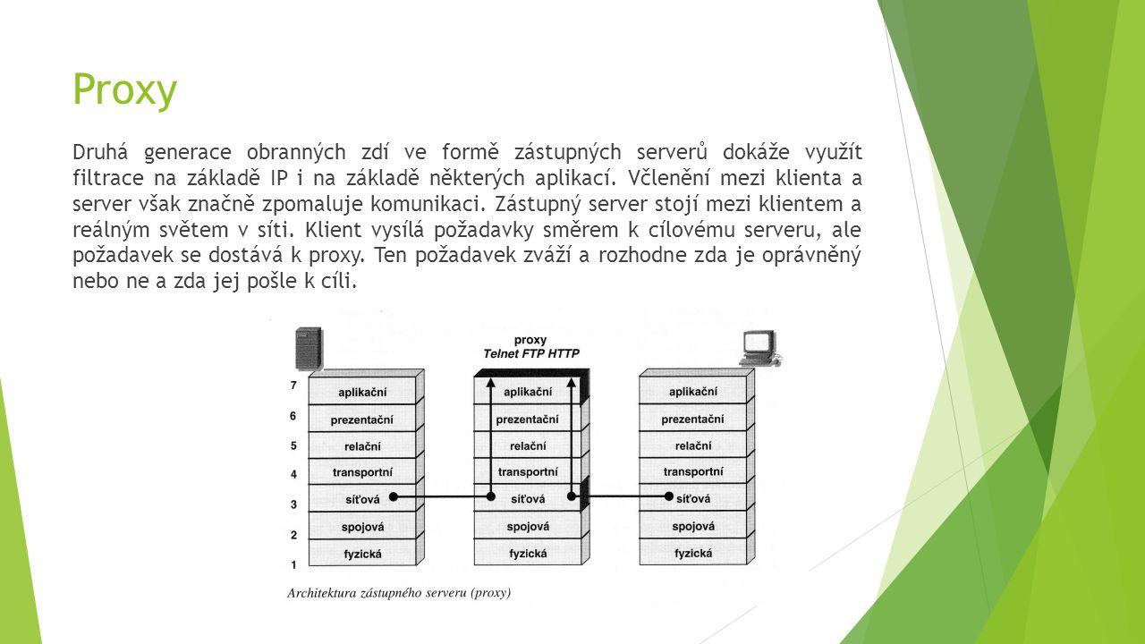 Proxy Druhá generace obranných zdí ve formě zástupných serverů dokáže využít filtrace na základě IP i na základě některých aplikací.