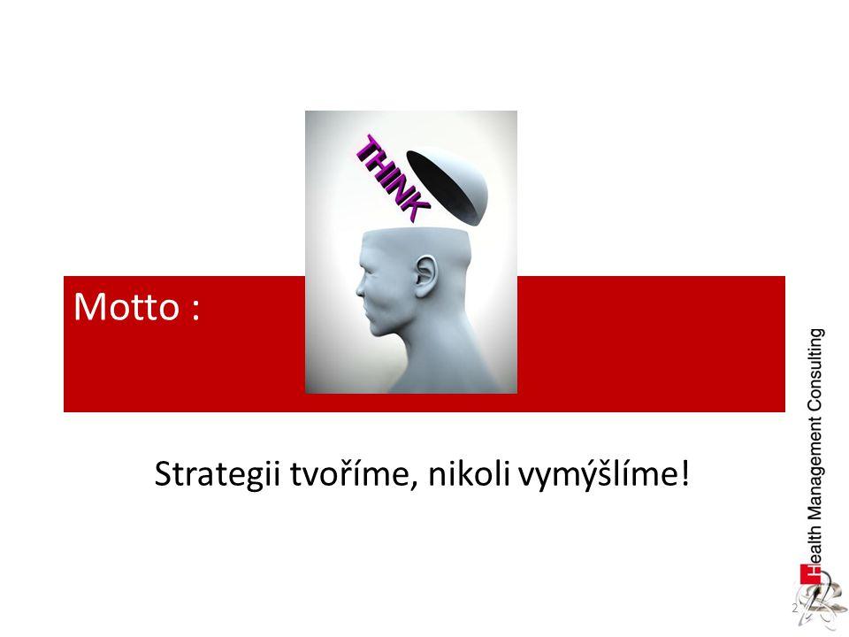 2 Motto : Strategii tvoříme, nikoli vymýšlíme!