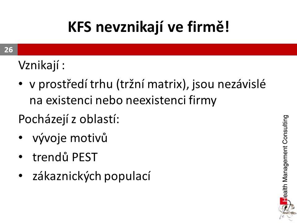 KFS nevznikají ve firmě! Vznikají : v prostředí trhu (tržní matrix), jsou nezávislé na existenci nebo neexistenci firmy Pocházejí z oblastí: vývoje mo