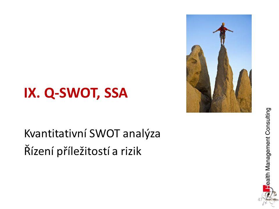 47 Kvantitativní SWOT analýza Řízení příležitostí a rizik IX. Q-SWOT, SSA