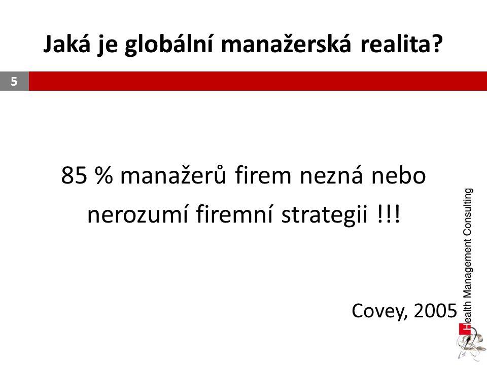 Jaká je globální manažerská realita? 85 % manažerů firem nezná nebo nerozumí firemní strategii !!! Covey, 2005 5