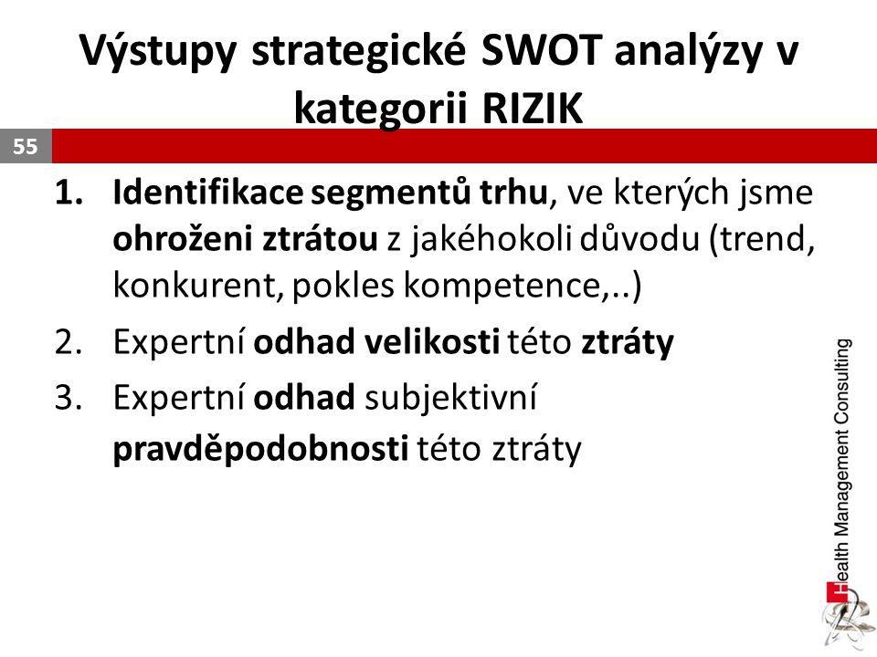 Výstupy strategické SWOT analýzy v kategorii RIZIK 1.Identifikace segmentů trhu, ve kterých jsme ohroženi ztrátou z jakéhokoli důvodu (trend, konkuren