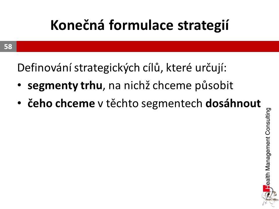 Konečná formulace strategií Definování strategických cílů, které určují: segmenty trhu, na nichž chceme působit čeho chceme v těchto segmentech dosáhn