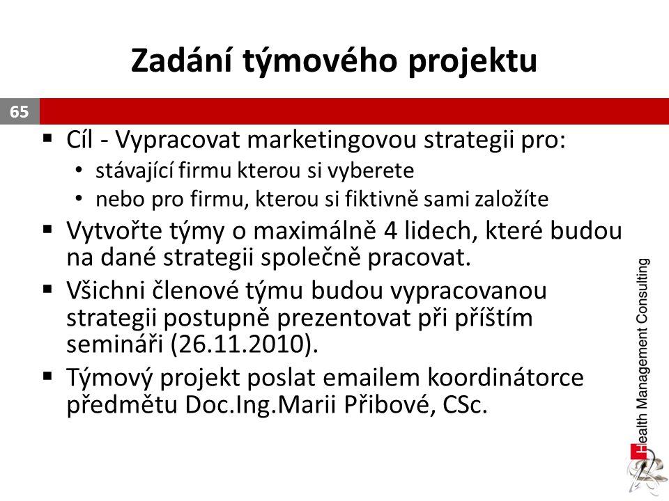 Zadání týmového projektu  Cíl - Vypracovat marketingovou strategii pro: stávající firmu kterou si vyberete nebo pro firmu, kterou si fiktivně sami za