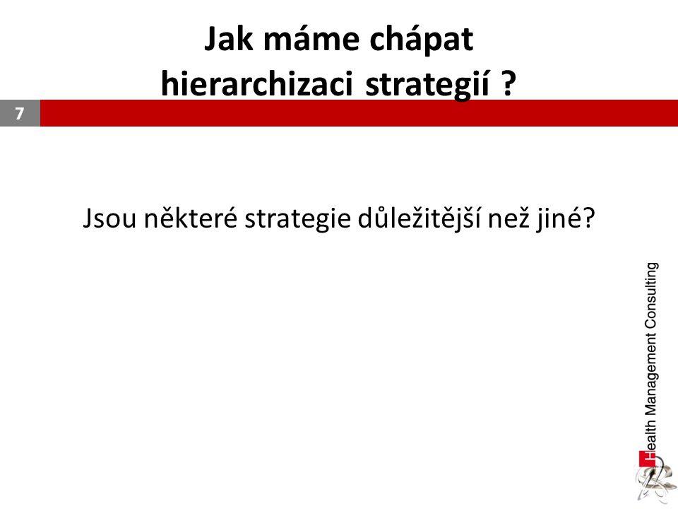 Jak máme chápat hierarchizaci strategií ? Jsou některé strategie důležitější než jiné? 7
