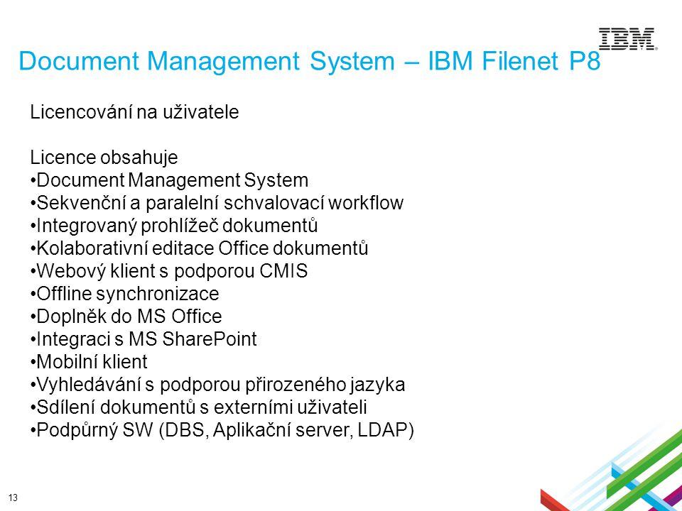 Document Management System – IBM Filenet P8 13 Licencování na uživatele Licence obsahuje Document Management System Sekvenční a paralelní schvalovací