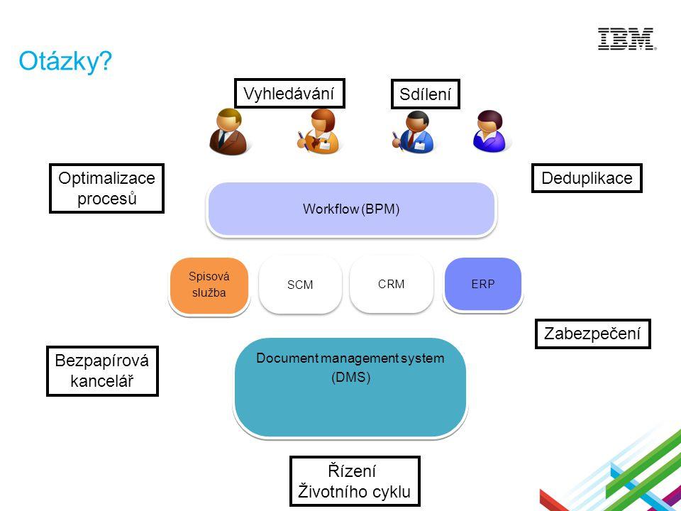 Otázky? Document management system (DMS) Document management system (DMS) Workflow (BPM) ERP Spisová služba Spisová služba SCM CRM Deduplikace Bezpapí
