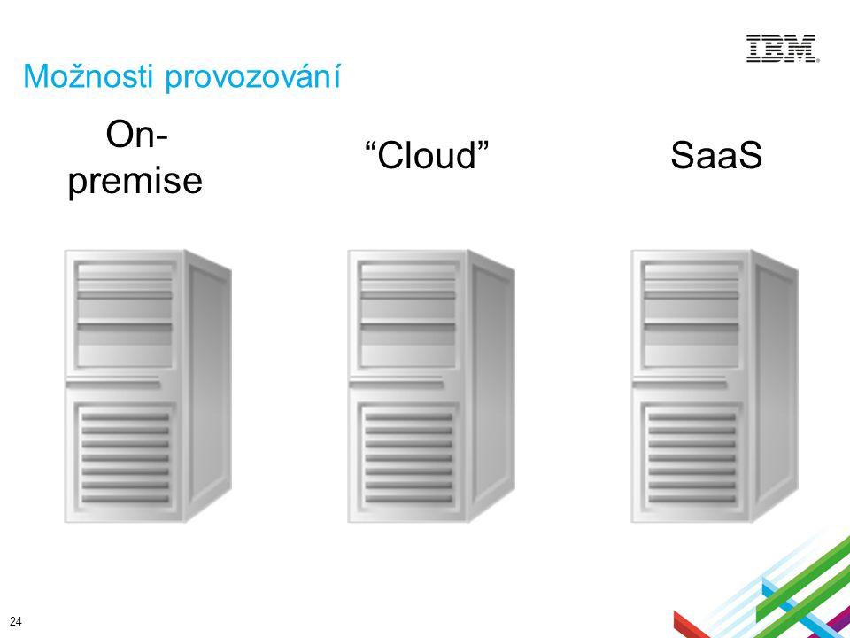 """Možnosti provozování 24  On- premise  """"Cloud""""  SaaS"""