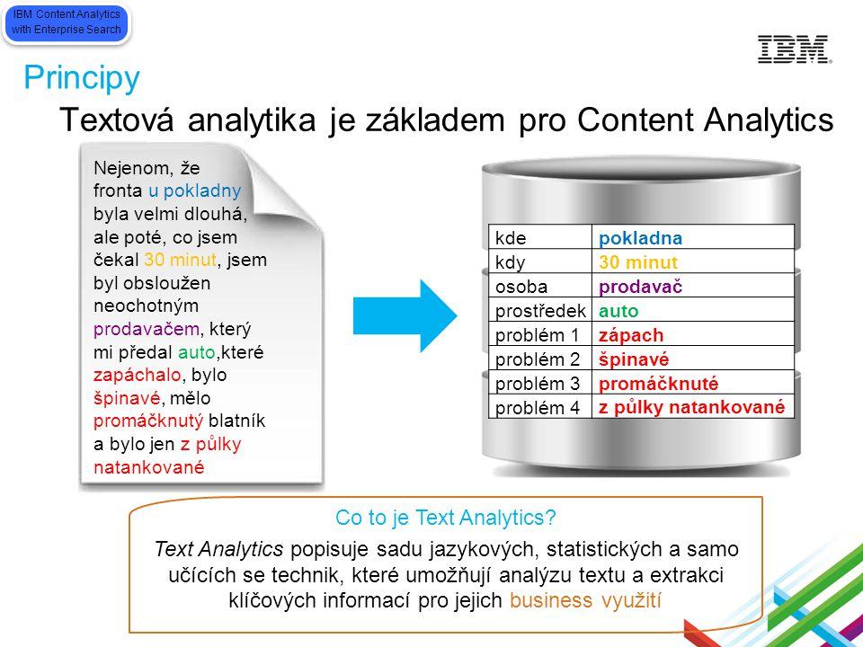 Principy Textová analytika je základem pro Content Analytics Co to je Text Analytics? Text Analytics popisuje sadu jazykových, statistických a samo uč