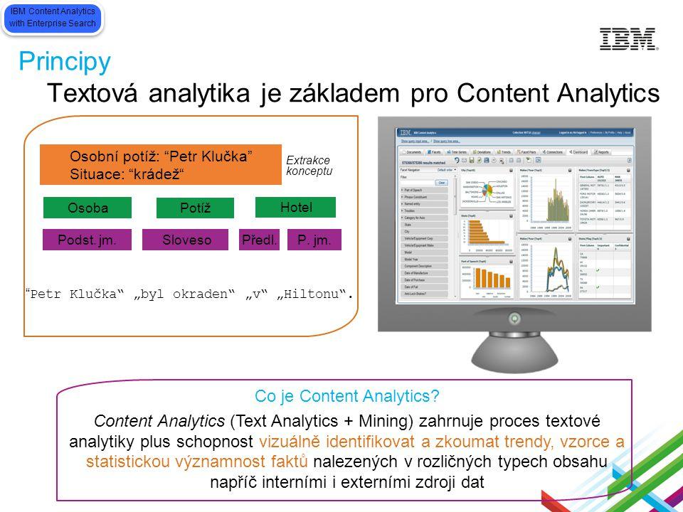 Principy Co je Content Analytics? Content Analytics (Text Analytics + Mining) zahrnuje proces textové analytiky plus schopnost vizuálně identifikovat