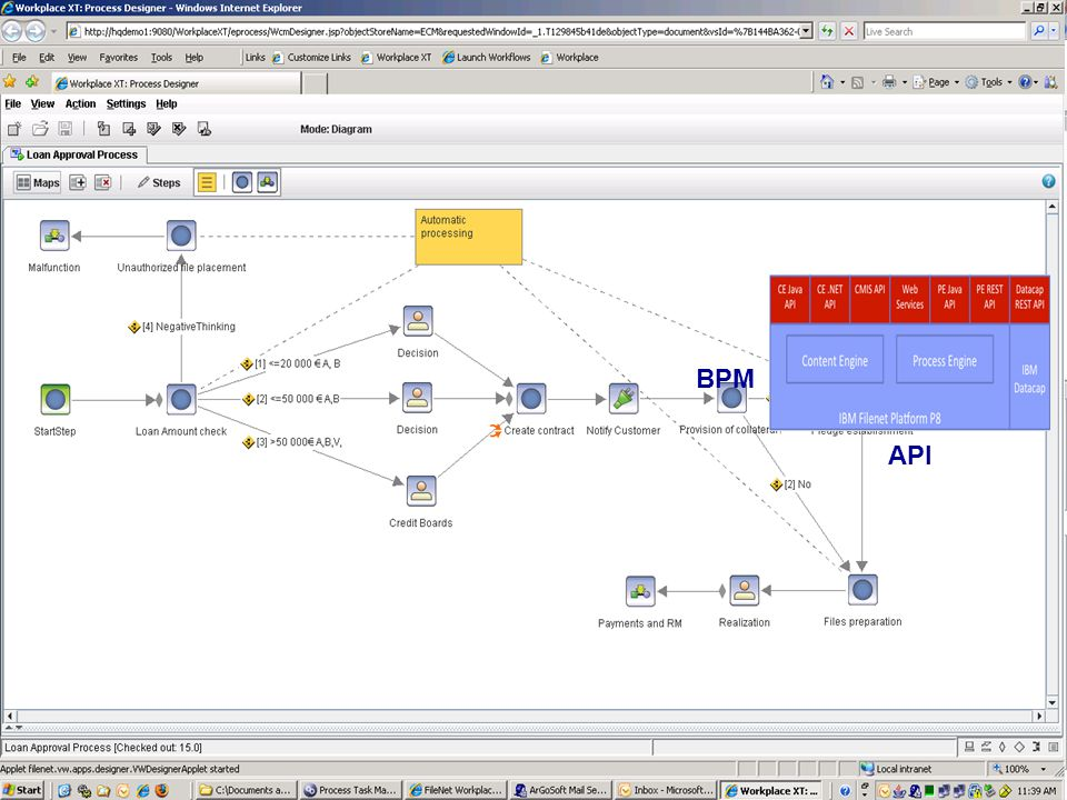 IBM Filenet P8 Dokumenty IBM Content Navigator IBM Image Viewer Mobile Office BPM API
