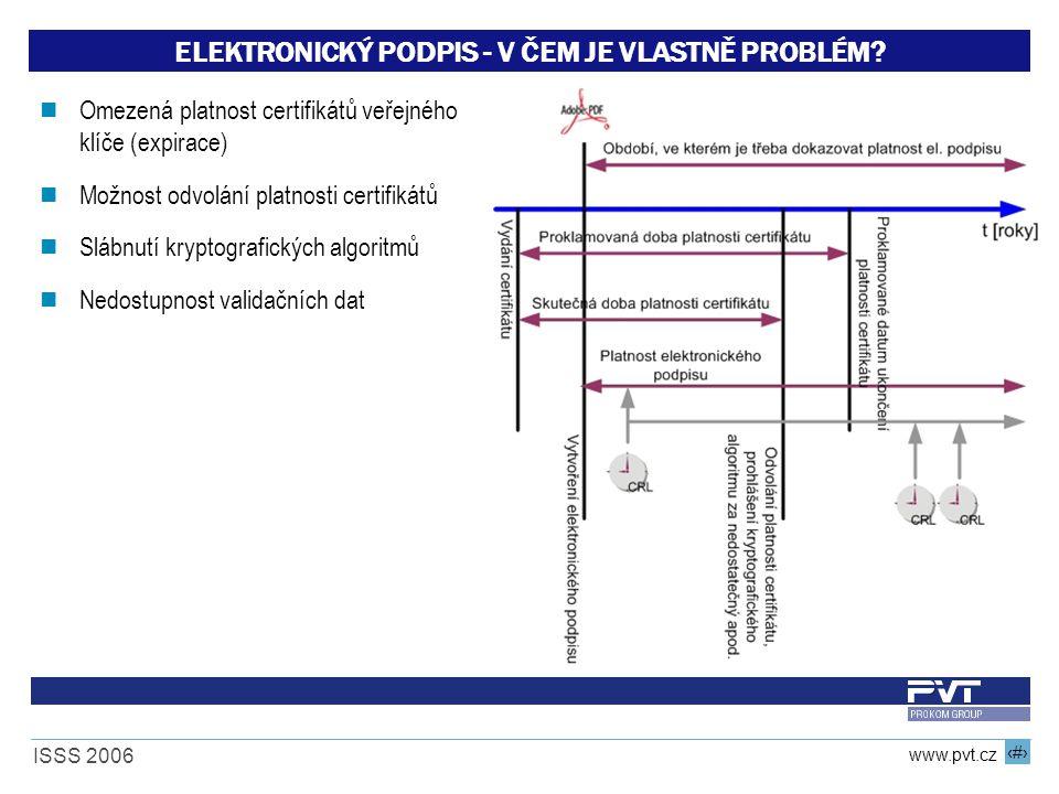 12 www.pvt.cz ISSS 2006 ELEKTRONICKÝ PODPIS - V ČEM JE VLASTNĚ PROBLÉM? Omezená platnost certifikátů veřejného klíče (expirace) Možnost odvolání platn
