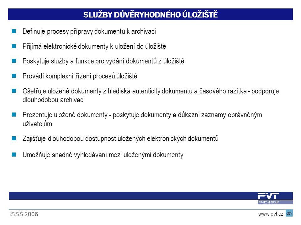 16 www.pvt.cz ISSS 2006 SLUŽBY DŮVĚRYHODNÉHO ÚLOŽIŠTĚ Definuje procesy přípravy dokumentů k archivaci Přijímá elektronické dokumenty k uložení do úlož