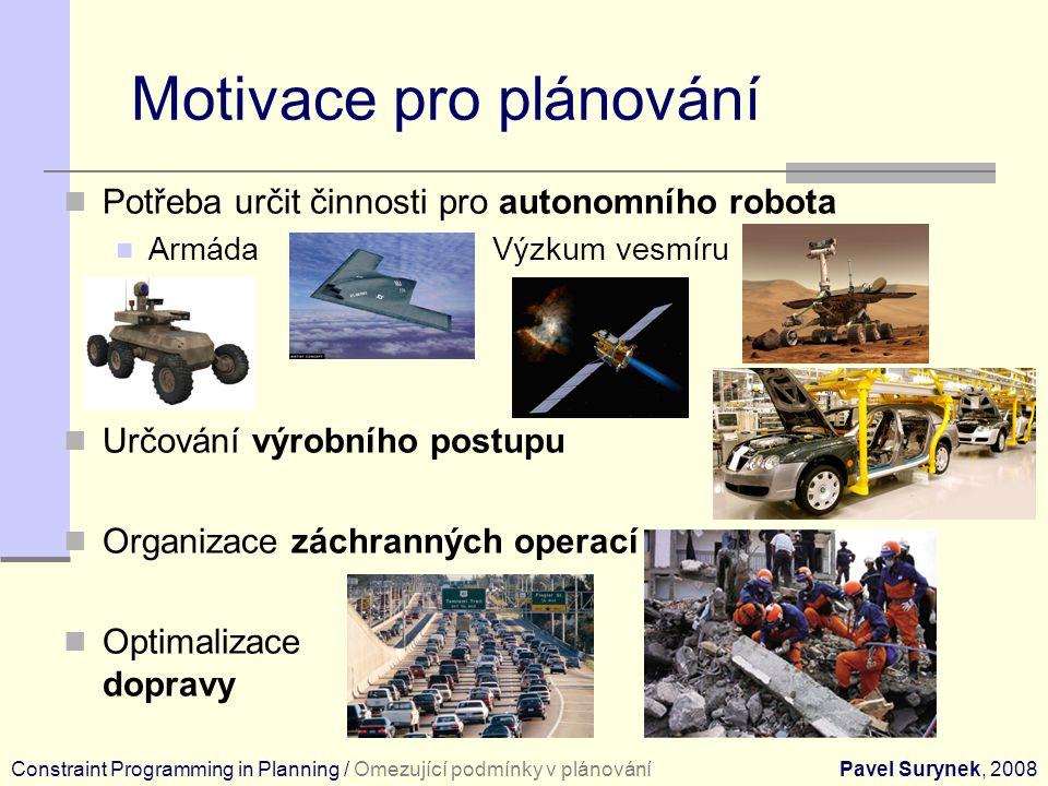 Motivace pro plánování Potřeba určit činnosti pro autonomního robota Armáda Výzkum vesmíru Určování výrobního postupu Organizace záchranných operací Optimalizace dopravy Constraint Programming in Planning / Omezující podmínky v plánováníPavel Surynek, 2008