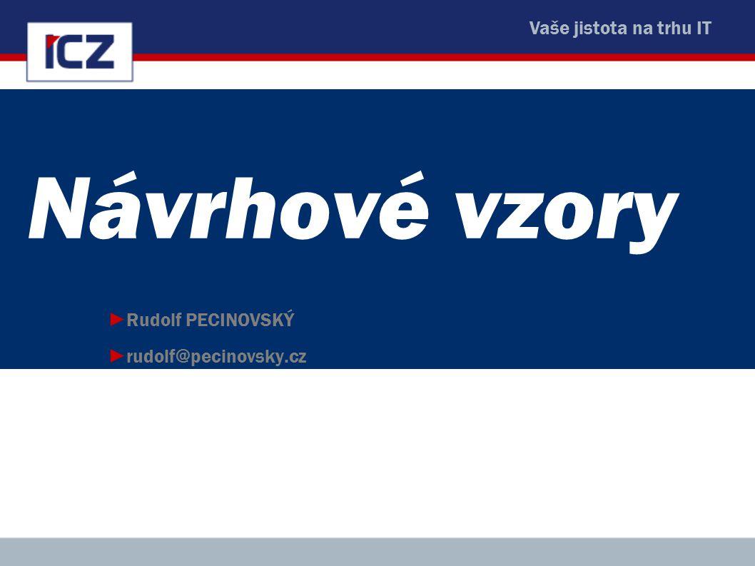 Vaše jistota na trhu IT Návrhové vzory ►Rudolf PECINOVSKÝ ►rudolf@pecinovsky.cz