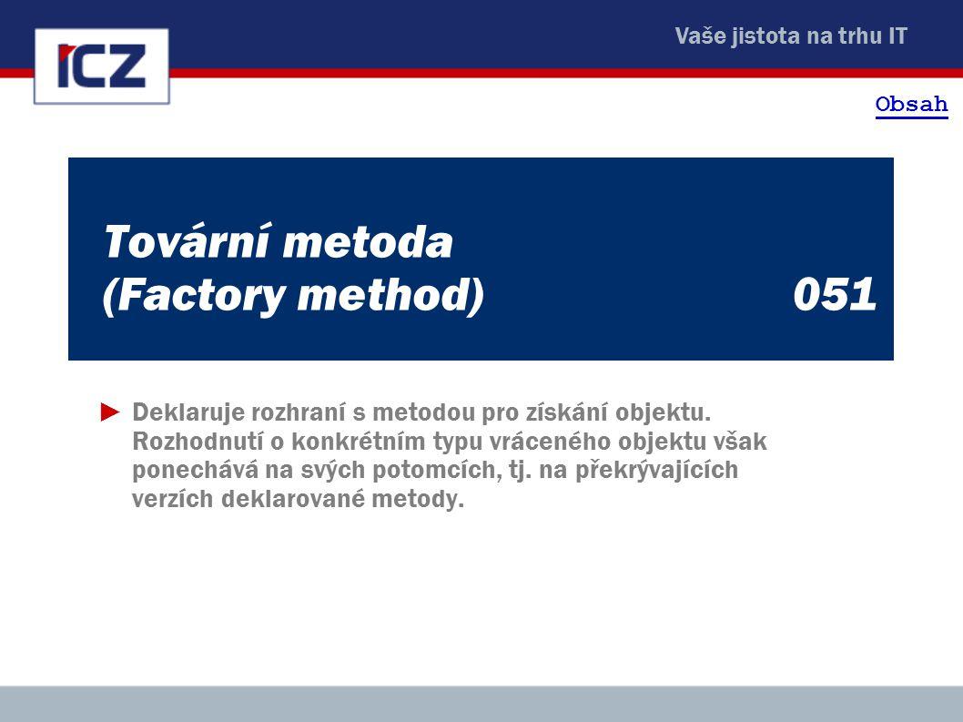 Vaše jistota na trhu IT Tovární metoda (Factory method)051 ►Deklaruje rozhraní s metodou pro získání objektu.
