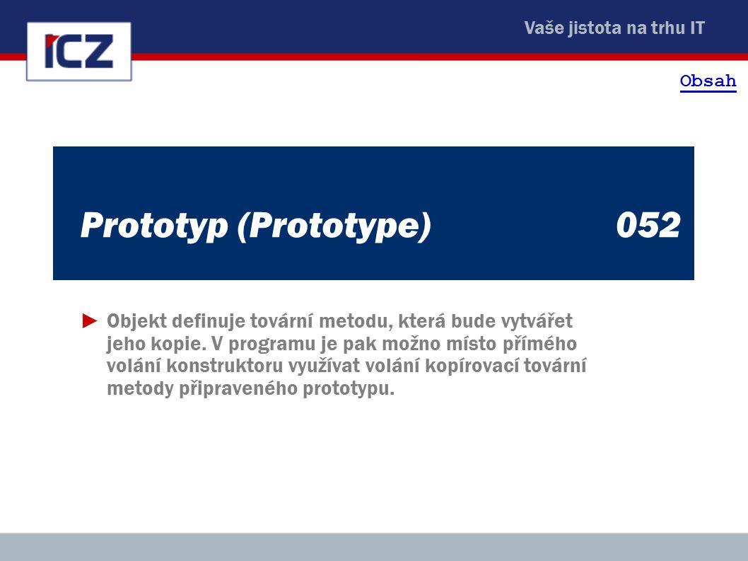 Vaše jistota na trhu IT Prototyp (Prototype)052 ►Objekt definuje tovární metodu, která bude vytvářet jeho kopie.