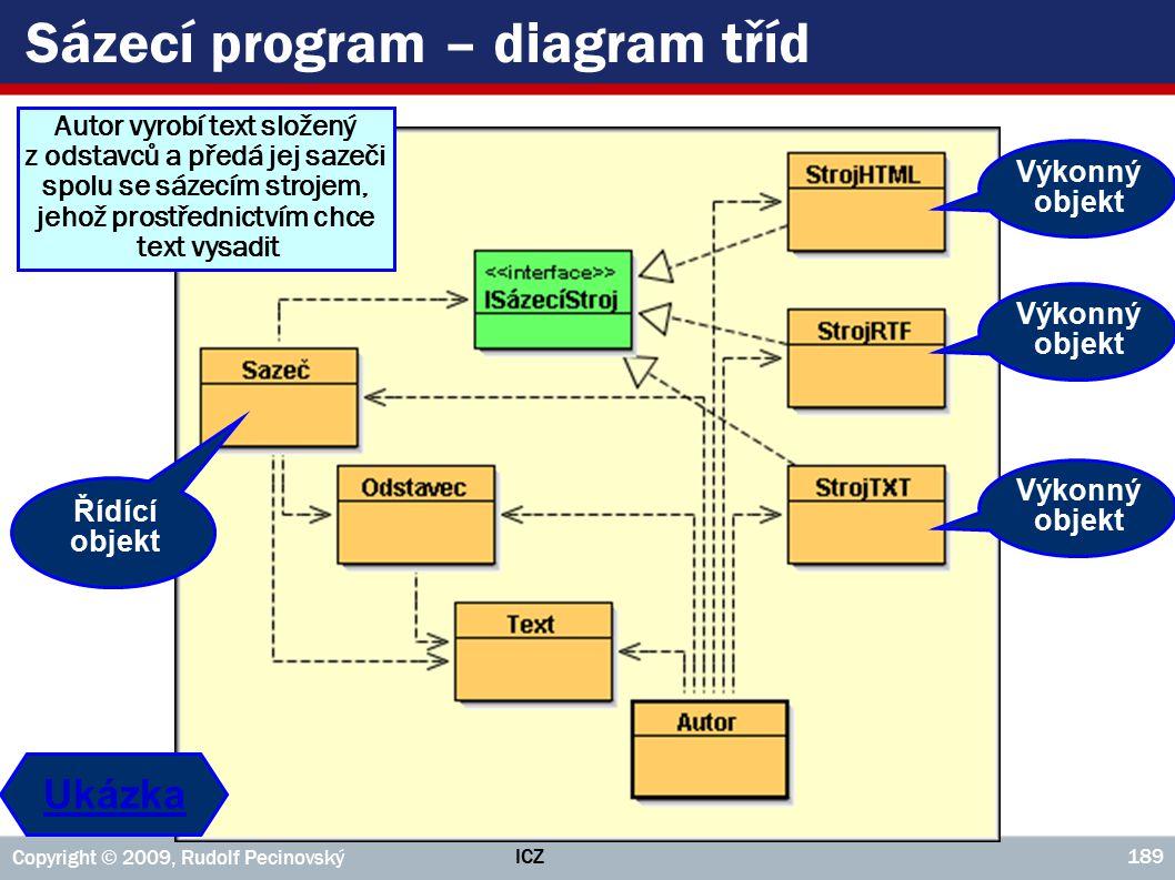ICZ Copyright © 2009, Rudolf Pecinovský 189 Sázecí program – diagram tříd Řídící objekt Výkonný objekt Autor vyrobí text složený z odstavců a předá je