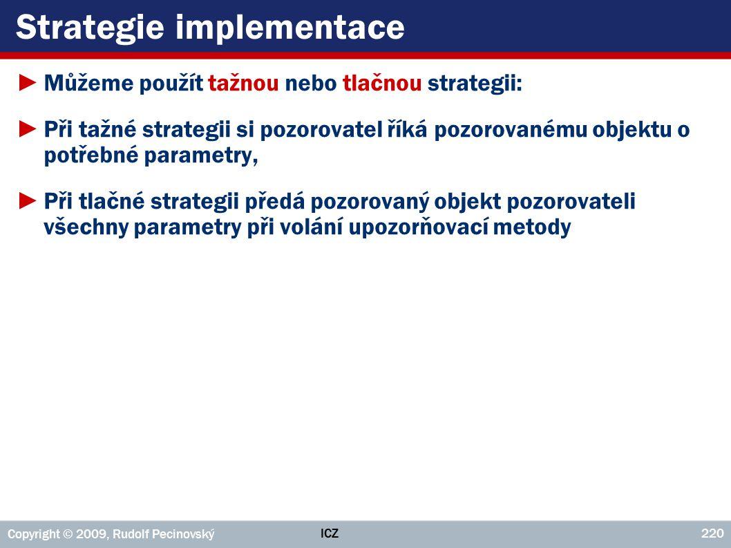 ICZ Copyright © 2009, Rudolf Pecinovský 220 Strategie implementace ►Můžeme použít tažnou nebo tlačnou strategii: ►Při tažné strategii si pozorovatel ř