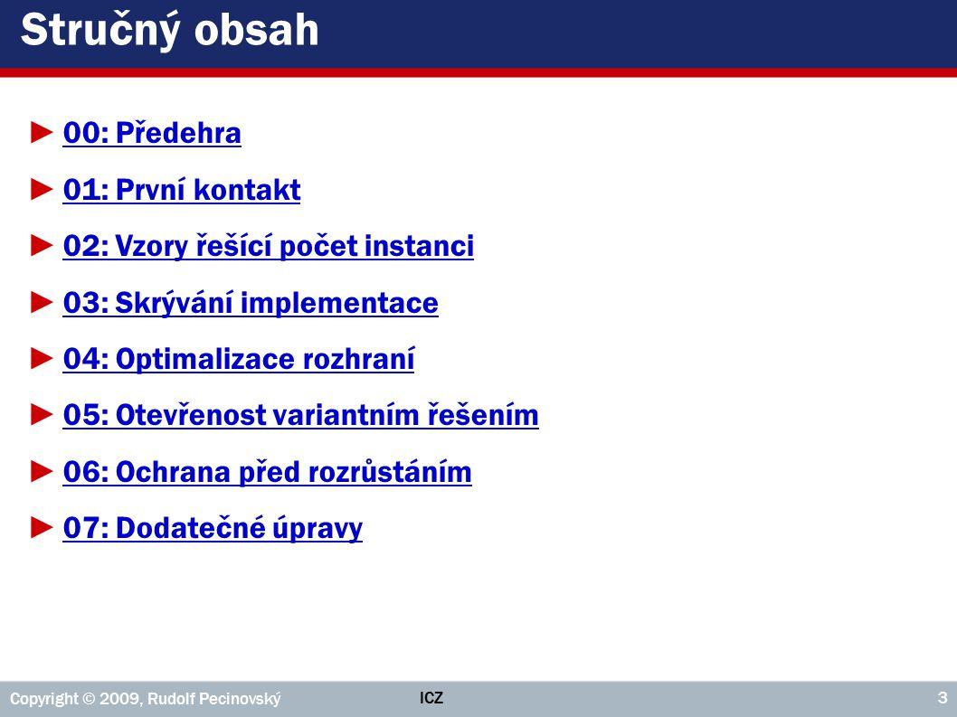 ICZ Copyright © 2009, Rudolf Pecinovský 274 Příklad 1: Diagram tříd popsané gramatiky ►Výraz ::= Literál | Volba | Posloupnost | Opakování | ( Výraz )