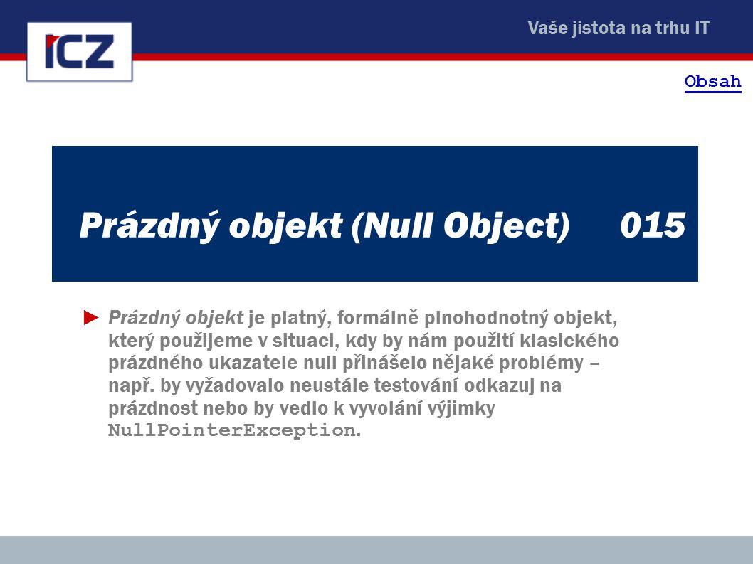 Vaše jistota na trhu IT Prázdný objekt (Null Object)015 ►Prázdný objekt je platný, formálně plnohodnotný objekt, který použijeme v situaci, kdy by nám použití klasického prázdného ukazatele null přinášelo nějaké problémy – např.