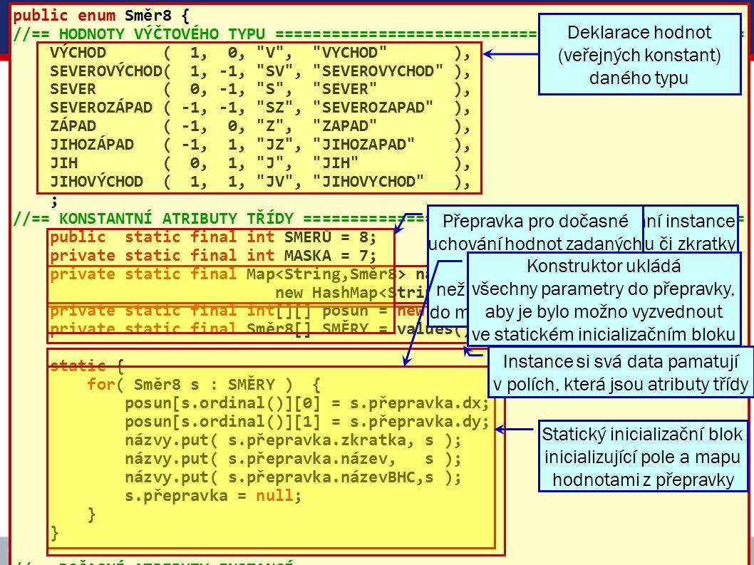 ICZ Copyright © 2009, Rudolf Pecinovský 63 Vytváření instancí třídy Směr8 public enum Směr8 { //== HODNOTY VÝČTOVÉHO TYPU ============================