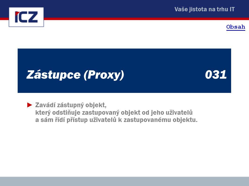 Vaše jistota na trhu IT Zástupce (Proxy)031 ►Zavádí zástupný objekt, který odstiňuje zastupovaný objekt od jeho uživatelů a sám řídí přístup uživatelů k zastupovanému objektu.