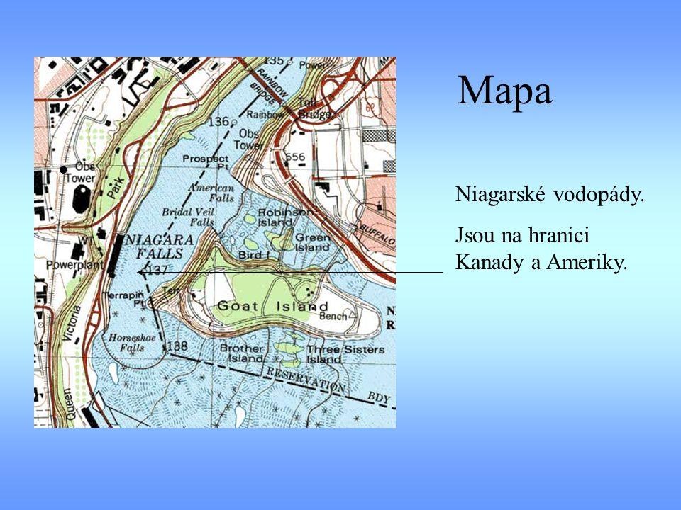 Mapa Niagarské vodopády. Jsou na hranici Kanady a Ameriky.