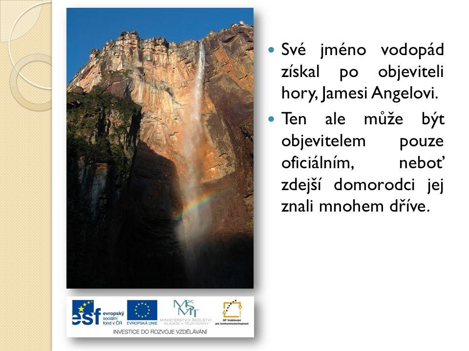Své jméno vodopád získal po objeviteli hory, Jamesi Angelovi. Ten ale může být objevitelem pouze oficiálním, neboť zdejší domorodci jej znali mnohem d