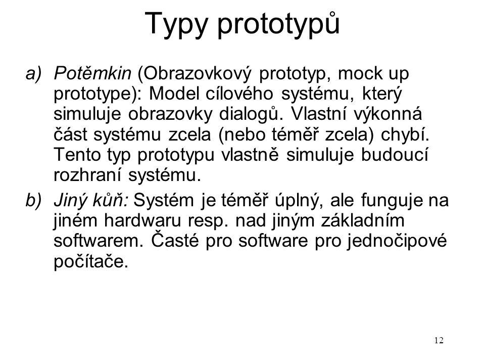 12 Typy prototypů a)Potěmkin (Obrazovkový prototyp, mock up prototype): Model cílového systému, který simuluje obrazovky dialogů. Vlastní výkonná část