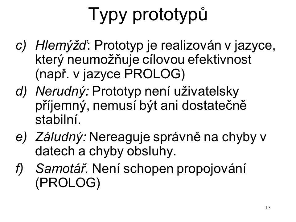 13 Typy prototypů c)Hlemýžď: Prototyp je realizován v jazyce, který neumožňuje cílovou efektivnost (např. v jazyce PROLOG) d)Nerudný: Prototyp není už